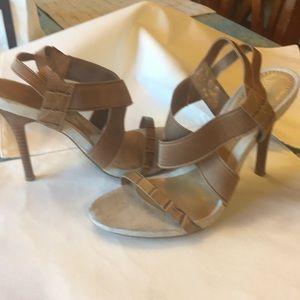 Sz 6 Alina Nine West leather-suede-elastic heels